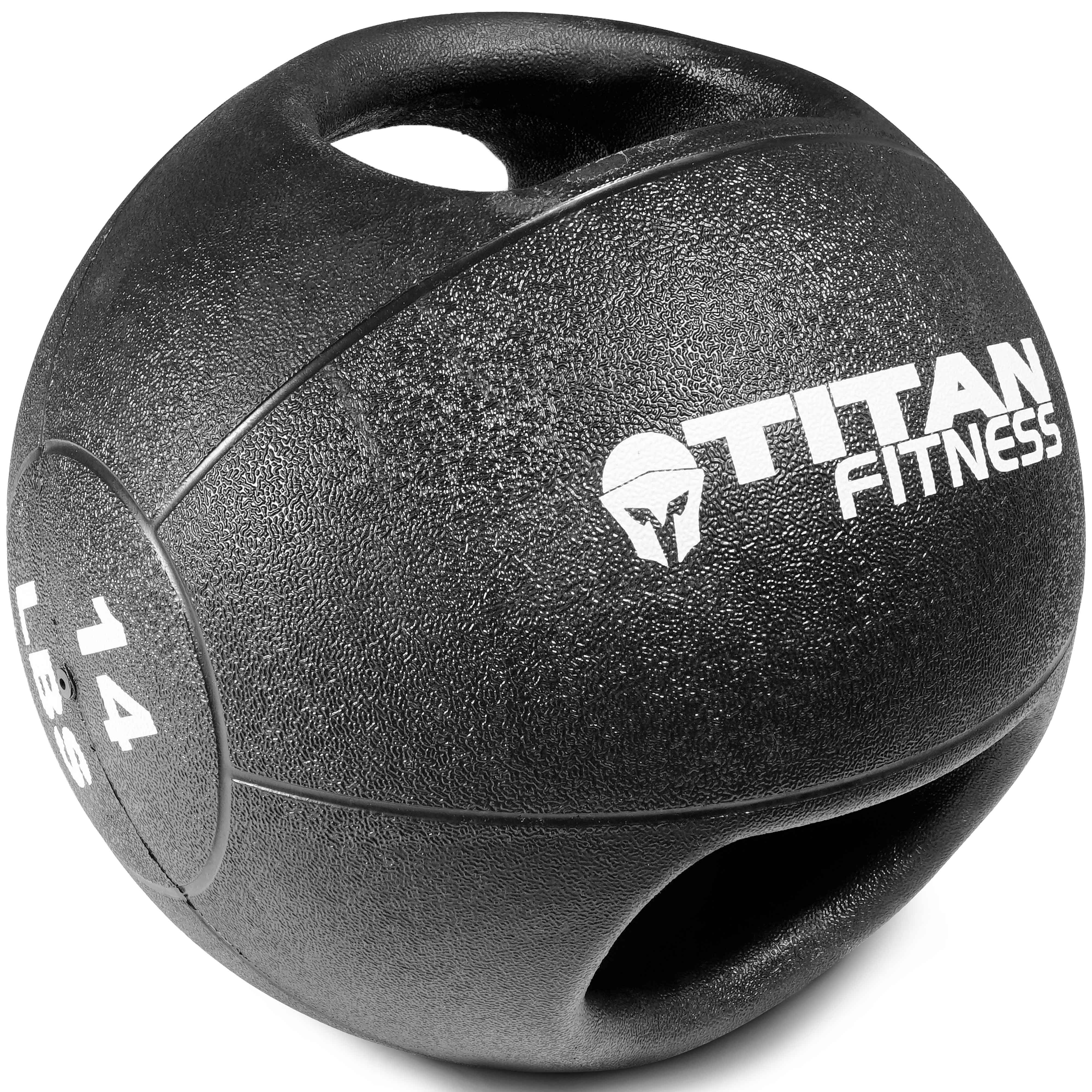 Titan Fitness 14 lb Dual Grip Medicine Ball Rubber Muscle Driver Sport Double