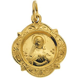Jewels By Lux 14K Yellow Gold 12.14x12.09mm Immaculate Heart of Mary Medal