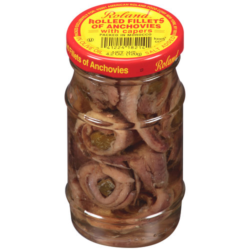 Roland Rolled Fillets of Anchovies with Capers, 4.2 oz
