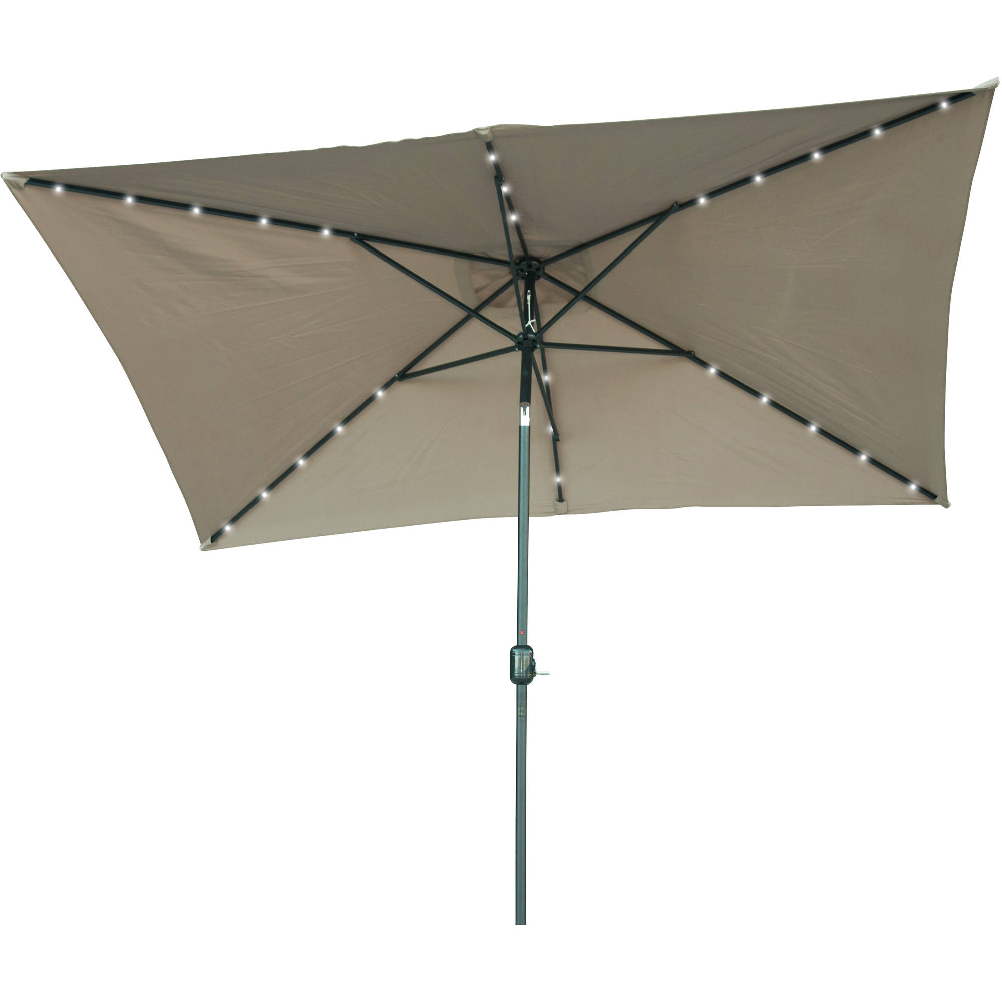 Rectangular Solar Powered LED Lighted Patio Umbrella - 10' x 6.5' - By Trademark Innovations (Tan)