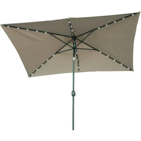 Rectangular Solar Ed Led Lighted Patio Umbrella 10 X 6 5 By Trademark