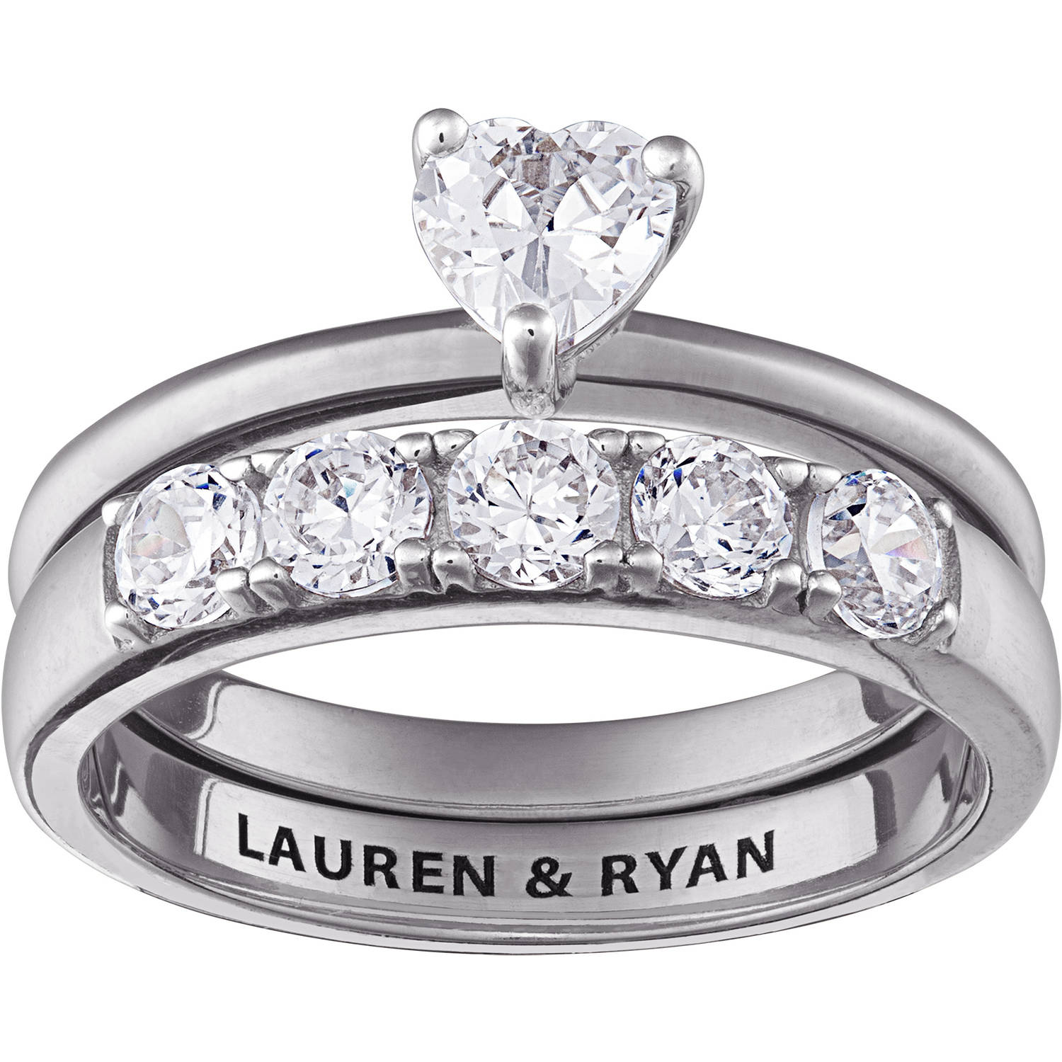 Personalized Women's Sterling Silver Heart Of Love Engraved Wedding Ring Set