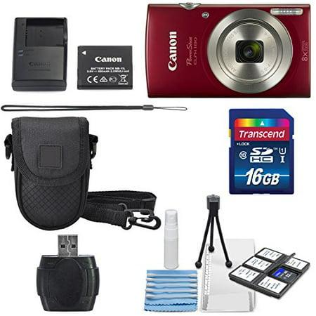 Canon PowerShot ELPH 180 Digital Camera (Red) + 16GB SDHC Memory Card + Mini ...