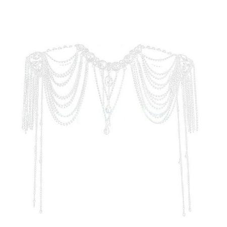 Wedding Bride Crystal Diamante Choker Necklace Shoulder Chain Bridal Jewelry