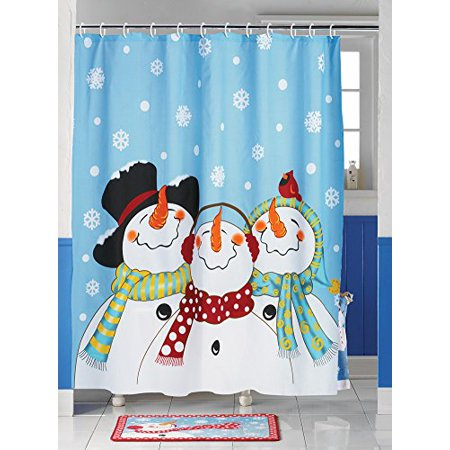 frosty and friends snowman christmas bathroom home decor shower curtain. Black Bedroom Furniture Sets. Home Design Ideas