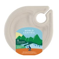 """World Centric Compostable Plant Fiber Plates with Wine Glass Holder, 7"""", 12 Count"""