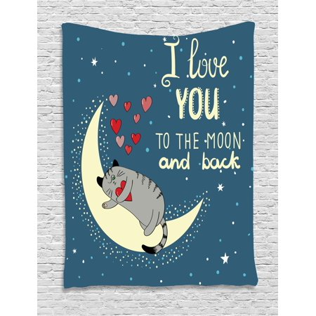 - I Love You Tapestry, Sleepy Cat Holding Hearts over the Moon at Night Sky Kitty Caricature, Wall Hanging for Bedroom Living Room Dorm Decor, 60W X 80L Inches, Slate Blue Grey Ivory, by Ambesonne