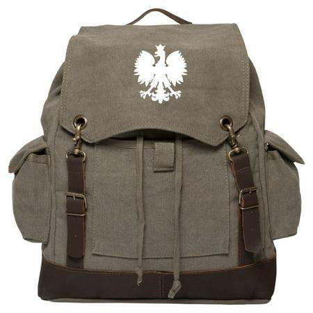Polska Polish Poland Eagle Vintage Canvas Rucksack Backpack with Leather (Best Weekend Hiking Backpack)