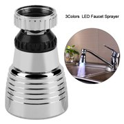 Aramox 360°Swivel 3Colors Temperature Controlled LED Light Kitchen Sink Faucet Spray Head Sprayer