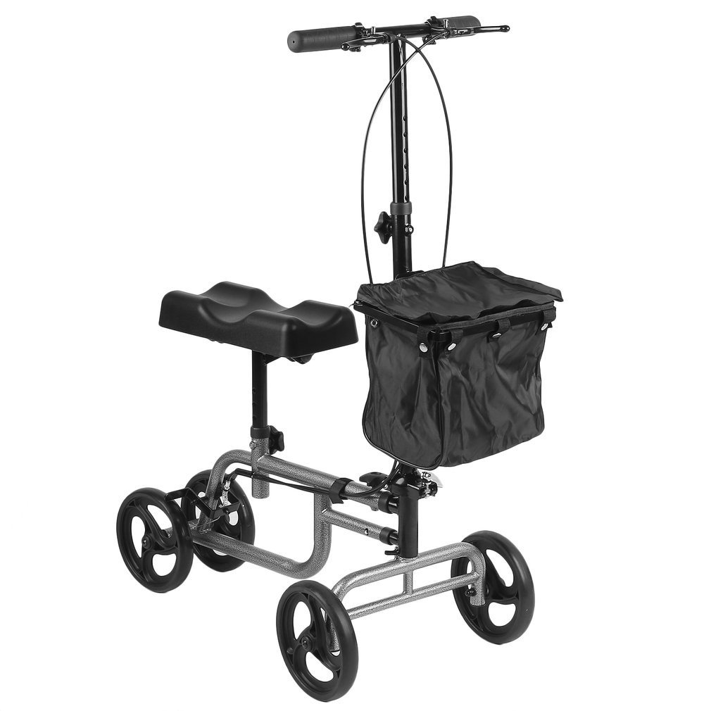 Steerable Foldable Knee Walker Scooter Turning Brake Basket Drive Cart Aid