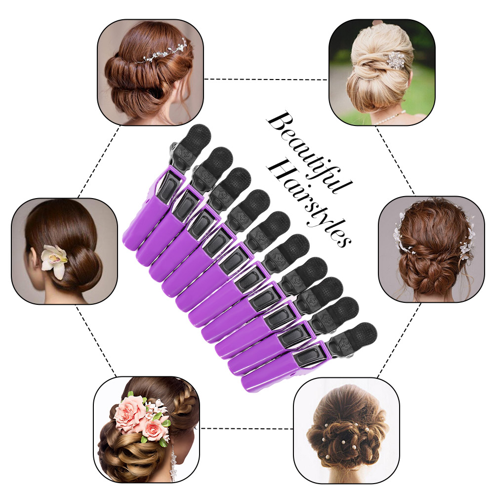 10 Pics Salon Croc Non Slip Hair Clips Hair Styling Clamps Clip for Thick Hair