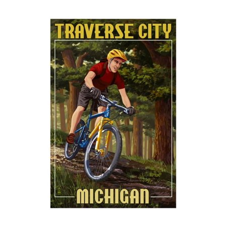 Traverse City, Michigan - Mountain Biker in Trees Print Wall Art By Lantern Press - Halloween City In Michigan