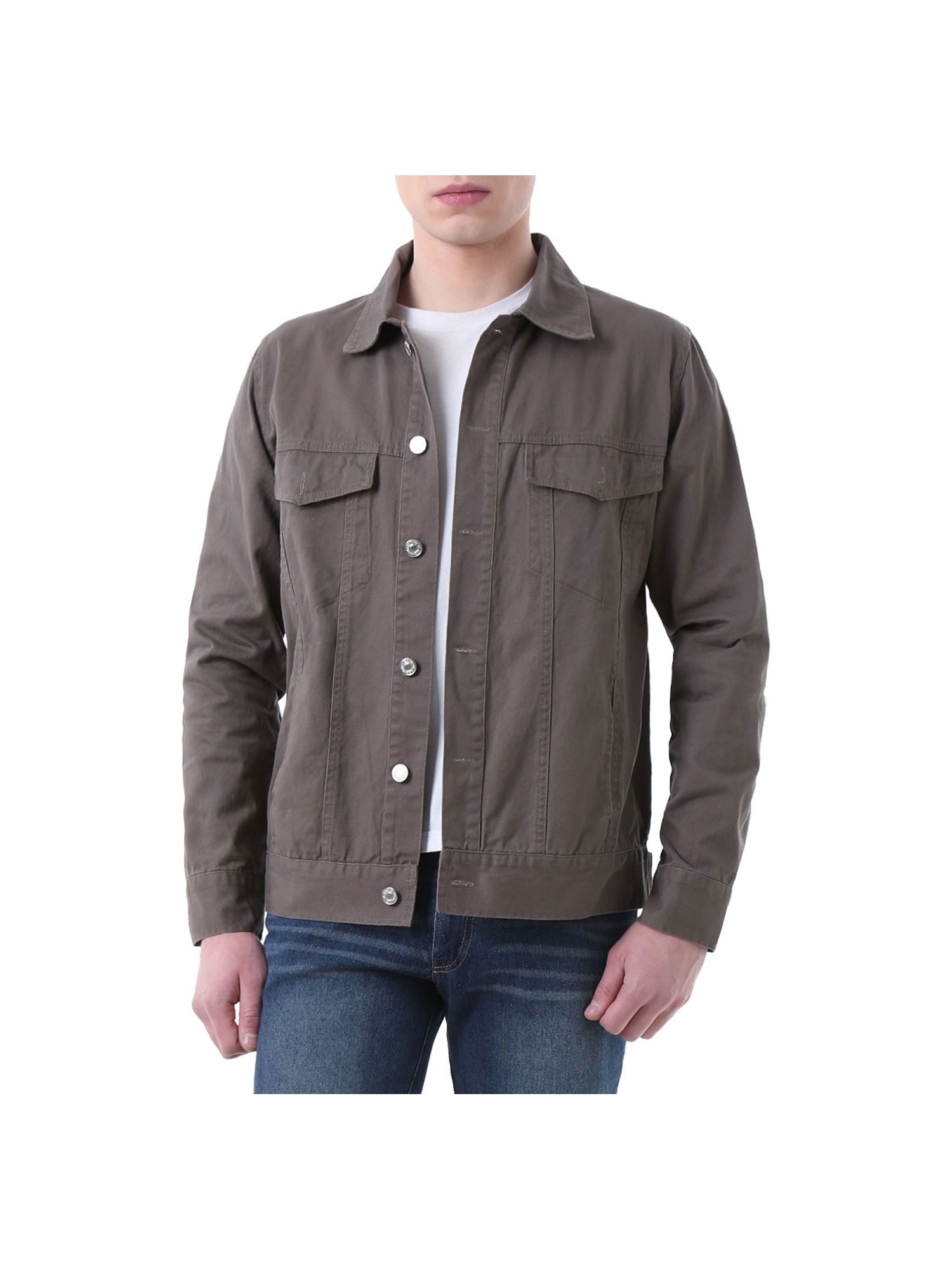 Sebaby Mens Long Sleeve Plus-Size Premium Single Breasted Denim T-Shirts