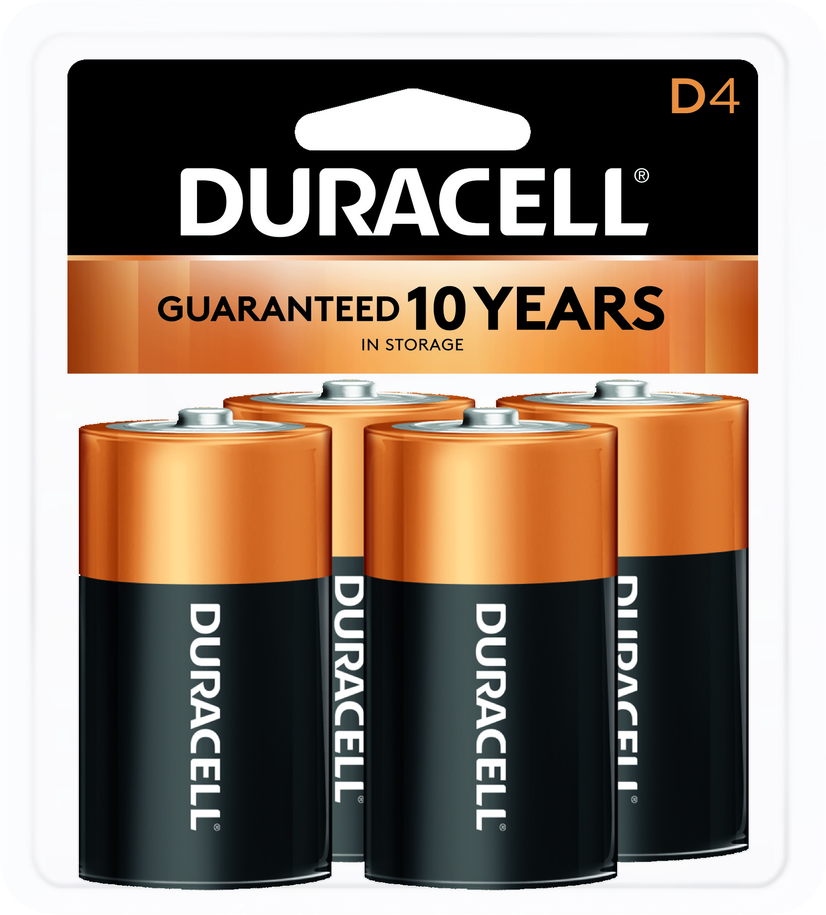 Duracell 1.5V Coppertop Alkaline, D Batteries, 4 Pack