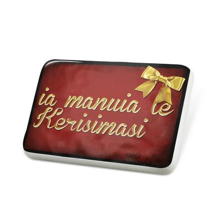 (Porcelein Pin Merry Christmas in Samoan from Samoa, American Samoa Lapel Badge – NEONBLOND)
