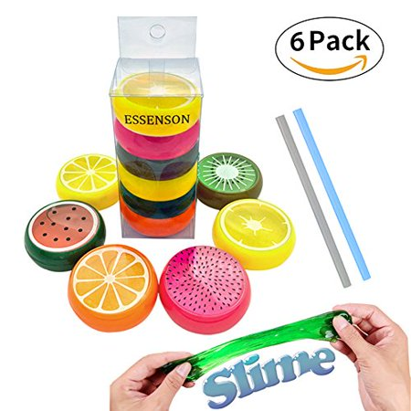 - Magic Crystal Slime Putty Toy Soft Fruit Slime for Kids, Students,Birthday,Party - 6 Pack with 2 Straws