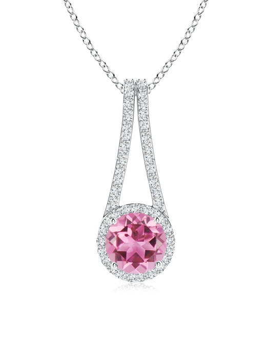 October Birthstone Pendant Necklaces Long V Bale Pink Tourmaline and Diamond Halo Pendant in 950 Platinum (7mm Pink... by Angara.com