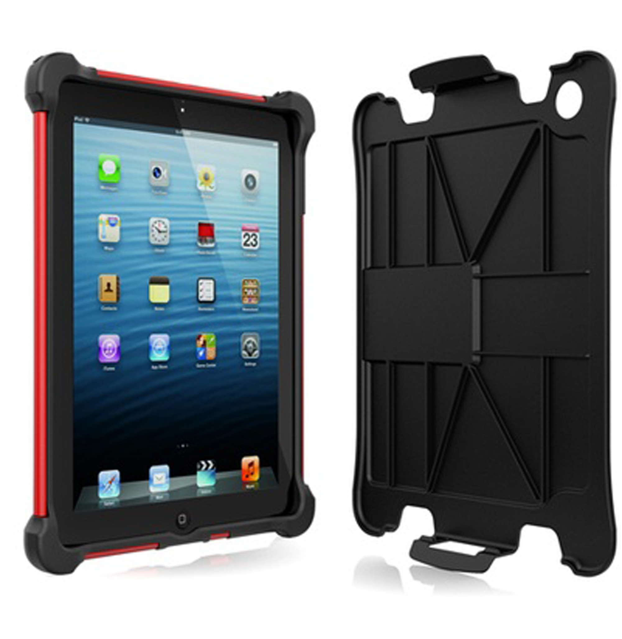 Apple iPad 2, iPad 3, iPad 4th GEN Black/Red Ballistic Tough Jacket Case