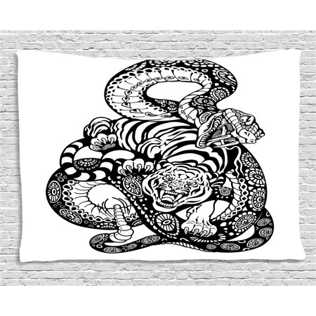 Tiger Tapestry, Tattoo Style Scene of Two Animals Fighting Long Snake with Sublime Large Cat Battle, Wall Hanging for Bedroom Living Room Dorm Decor, 60W X 40L Inches, Black White, by Ambesonne ()