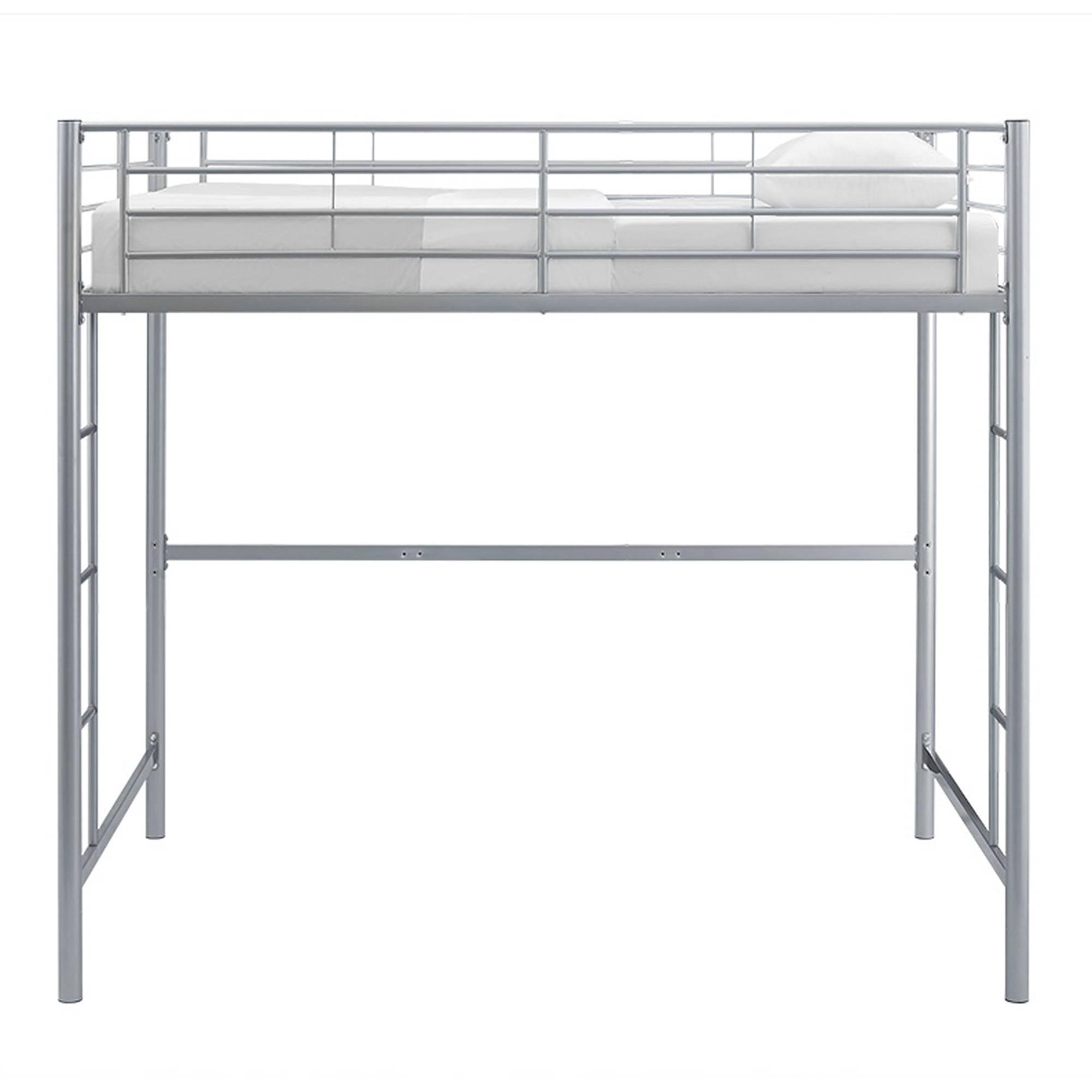 Walker Edison Full Metal Frame Loft Bed Ladder Silver Kids Bedroom ...