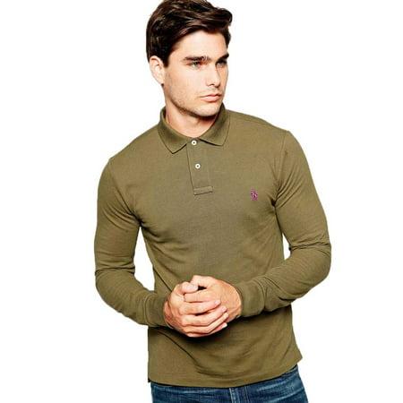 09c7ff8b Polo Ralph Lauren Men Custom Fit Long Sleeves Polo Shirt Green XL