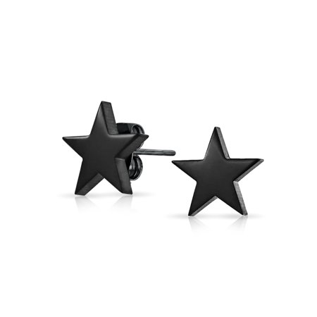 Simple Patriotic Celestial Star Stud Earrings For Men And Women Black Polished Finish Stainless Steel 10MM