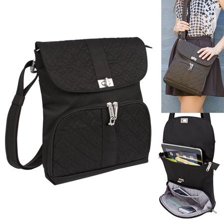 Travelon Rfid Anti Theft Shoulder Handbag Purse Lady Messenger Bag Travel Black