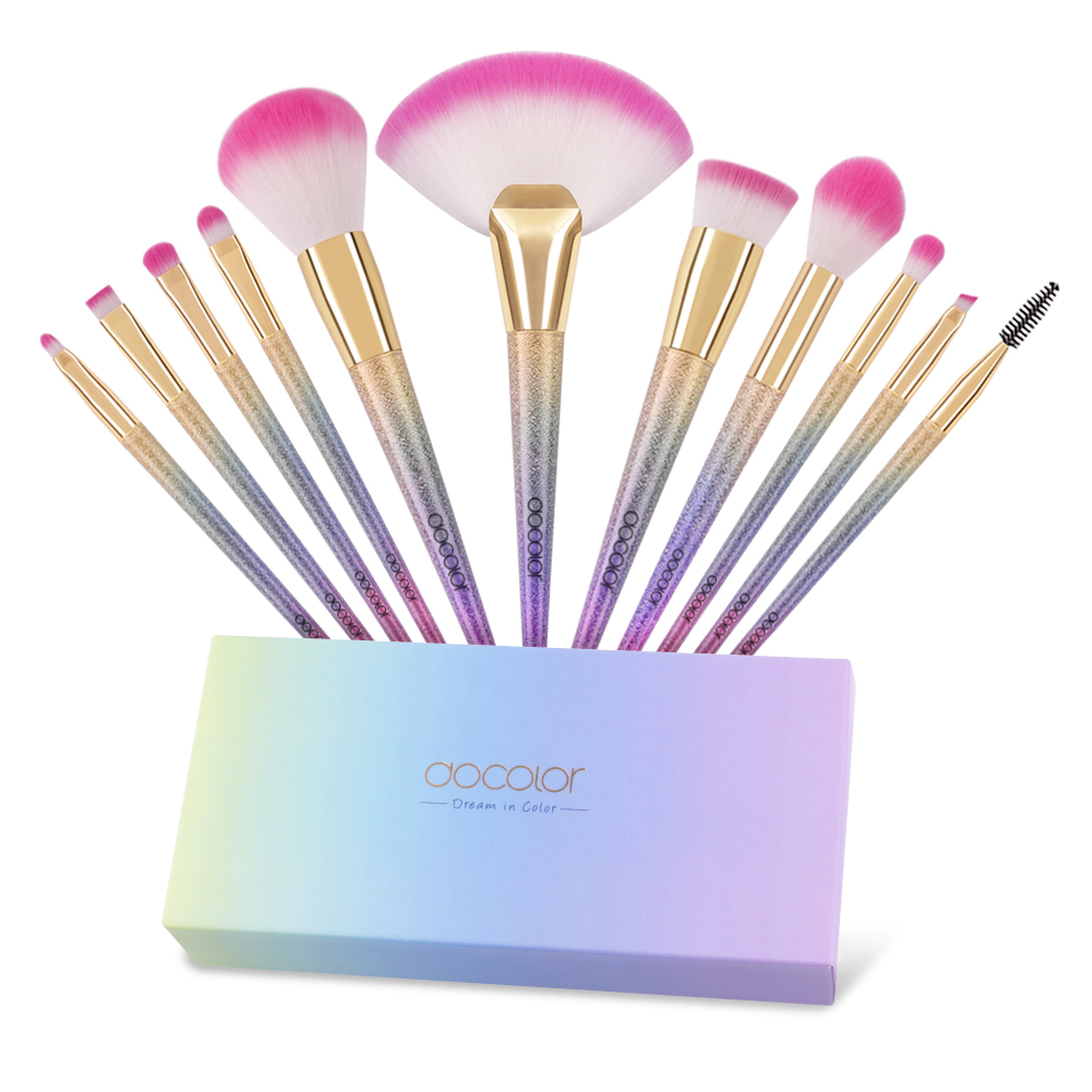 Docolor 11Pcs Makeup Brushes Set Unicorn Powder Contour Foundation Fan Make Up Brush Cosmetic Tool