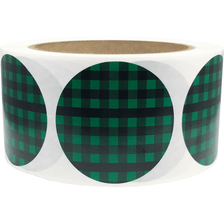 Green Buffalo Plaid Color Coding Labels Round Circle Dots 2 Inch 500 Total Adhesive Stickers