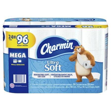 Empty Toilet Paper Rolls (Charmin Ultra Soft Toilet Paper 24 Mega Roll, 284 Sheets Per)