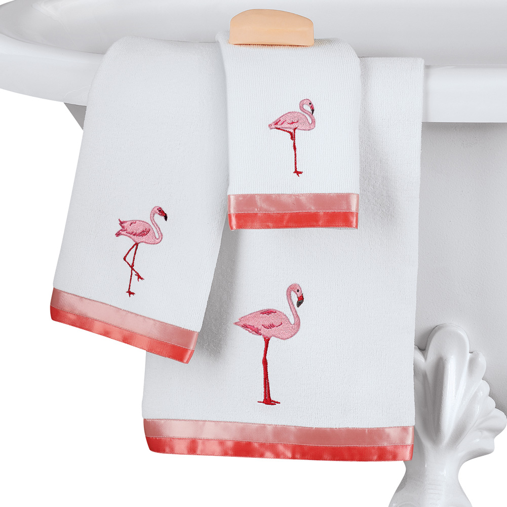 Pink Flamingo Tropical Embroidered Towel Set with Ribbon Border by Collections Etc