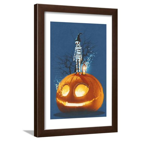Mummy Standing on Giant Pumpkin,Jack O Lantern,Halloween Concept,Illustration Painting Framed Print Wall Art By Tithi Luadthong ()