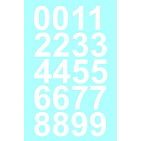 Sheet of 1 Inch (White) Numbers Vinyl Custom Street Address Mailbox Decal Stickers Kit