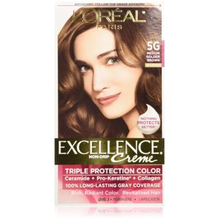 L'Oreal Paris Excellence Crème Haircolor, Medium Golden Brown [5G] 1 ch (Lot de 4)