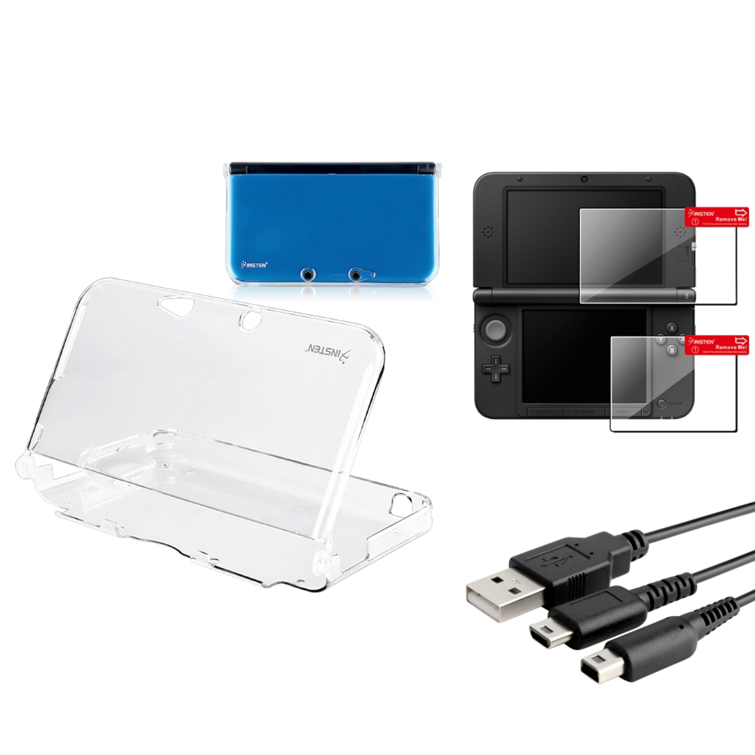 Insten Clear Crystal Skin Case+2-LCD Film+2in1 USB Charging Cable For Nintendo 3DS XL