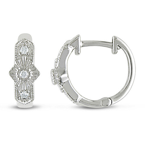 Amour Round Cut Diamond Hoop Earrings