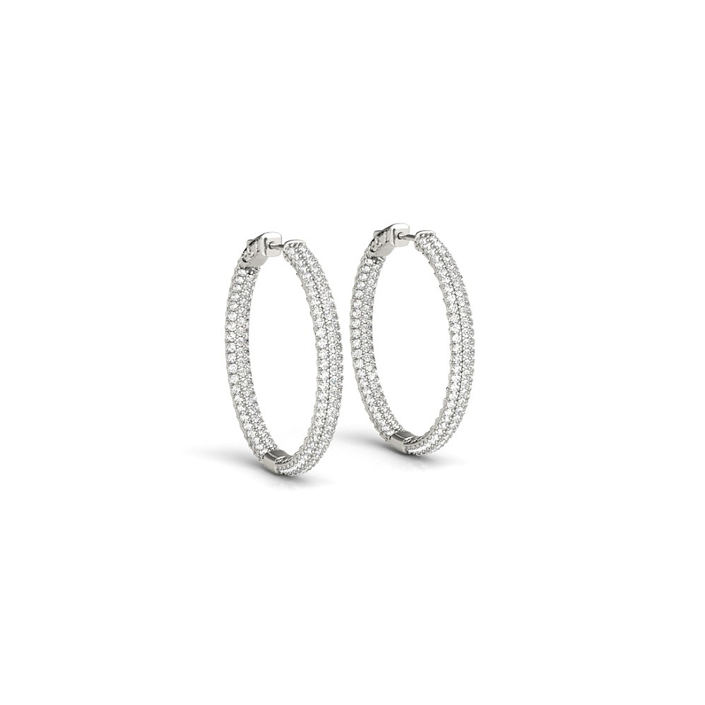 Triple Row Round Cubic Zirconia Hoop Earrings for Women 3.00.ct.tw 14K White Gold - image 2 of 2