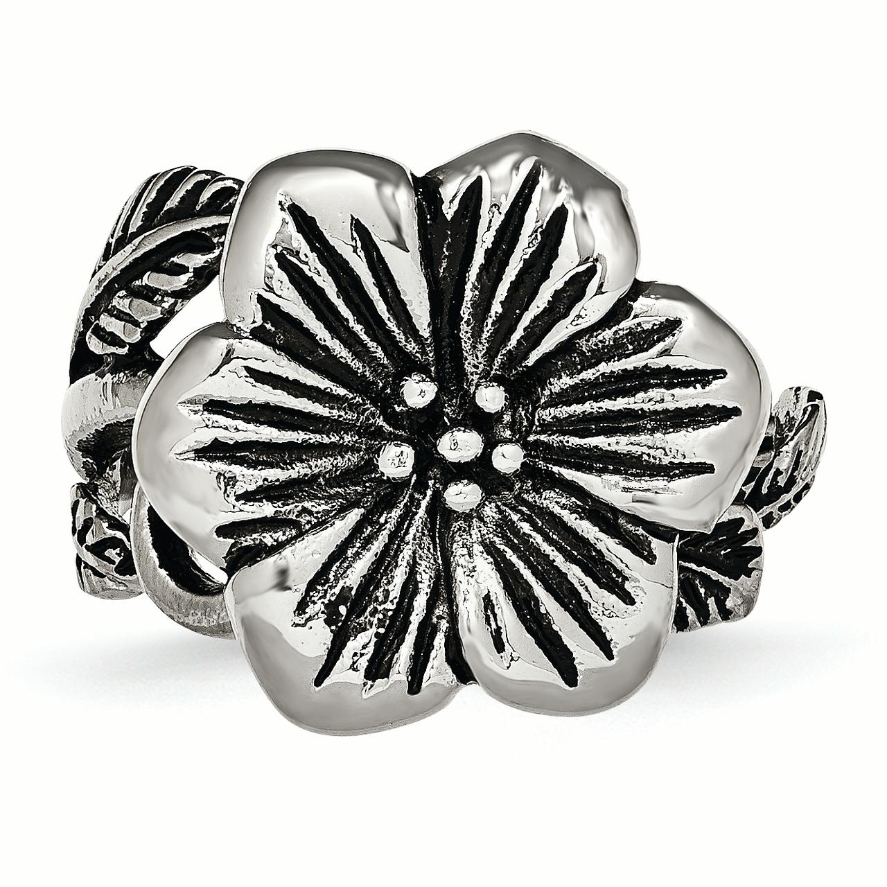 Stainless Steel Antique Finish Flower Band Ring Size 6.00 Flowers/leaf Fashion Jewelry Gifts For Women For Her - image 4 de 6