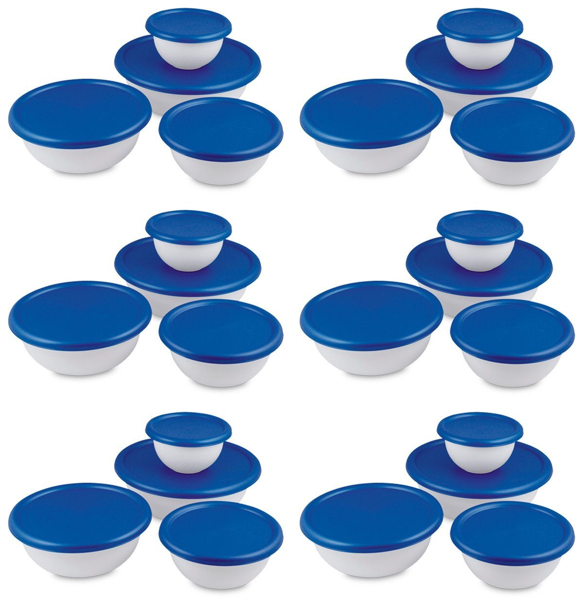 6 Pack 07479406 8-Piece Plastic Kitchen Covered Bowl/Mixi...