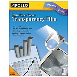 Apollo Plain Paper Copier Transparency Film, Black On Clear, Box Of 100