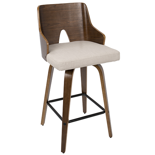 "Ariana 26"" Mid-Century Modern Counter Stool in Walnut and Beige Fabric by Lumisource by LumiSource"