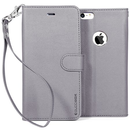 - BUDDIBOX iPhone 6 Case / iPhone 6s Case Wallet Phone Cover with Wrist Strap, (Gray)
