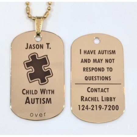 Custom Engraved Autism Autistic Aspergers Medical Alert Tag Pendant Necklace in Gold - free personalization