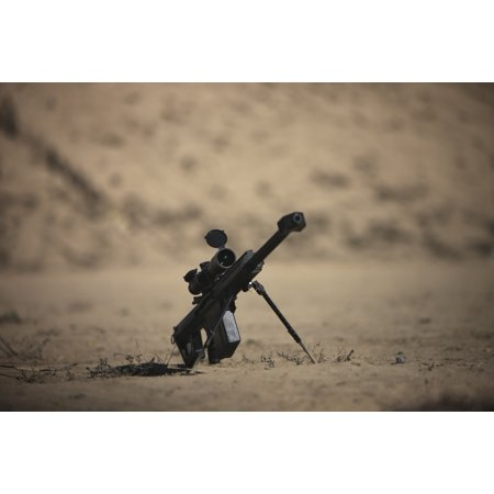 Barrett M82A1 rifle sits ready on a firing range in Kunduz, Afghanistan Poster Print (Range Relay)