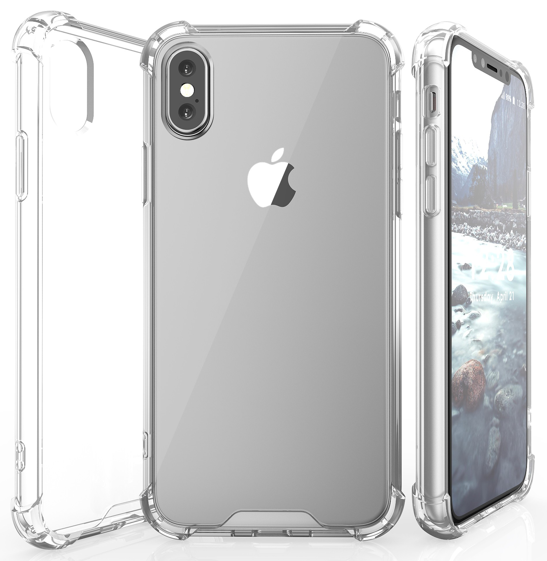 new concept 1bdc8 f8997 iPhone X Case, Aquaflex Clear Transparent TPU [Anti-Shock] Slim Cover with  Hard Back for Apple iPhone 10
