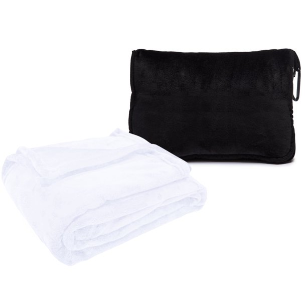 "Style Basics Silky Soft Thick Plush Packable 50 X 60"" Travel Blanket with Black Plush Carrying Case with Hand Luggage Belt and Backpack Clip"