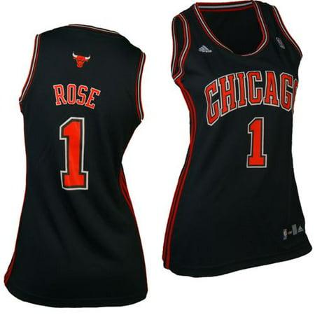 Chicago Bulls Derrick Rose #1 Adidas Womens Replica NBA Jersey (Black) by