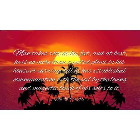 John Burroughs - Famous Quotes Laminated POSTER PRINT 24x20 - Man takes root at his feet, and at best, he is no more than a potted plant in his house or carriage till he has established