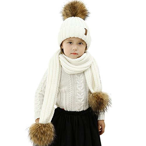 33af64b4c Kids Hat and Scarf Set Winter Knit Beanie Pom Pom Hat Unisex Baby Warm  Chunky Thick Stretchy (Ages 2-14)