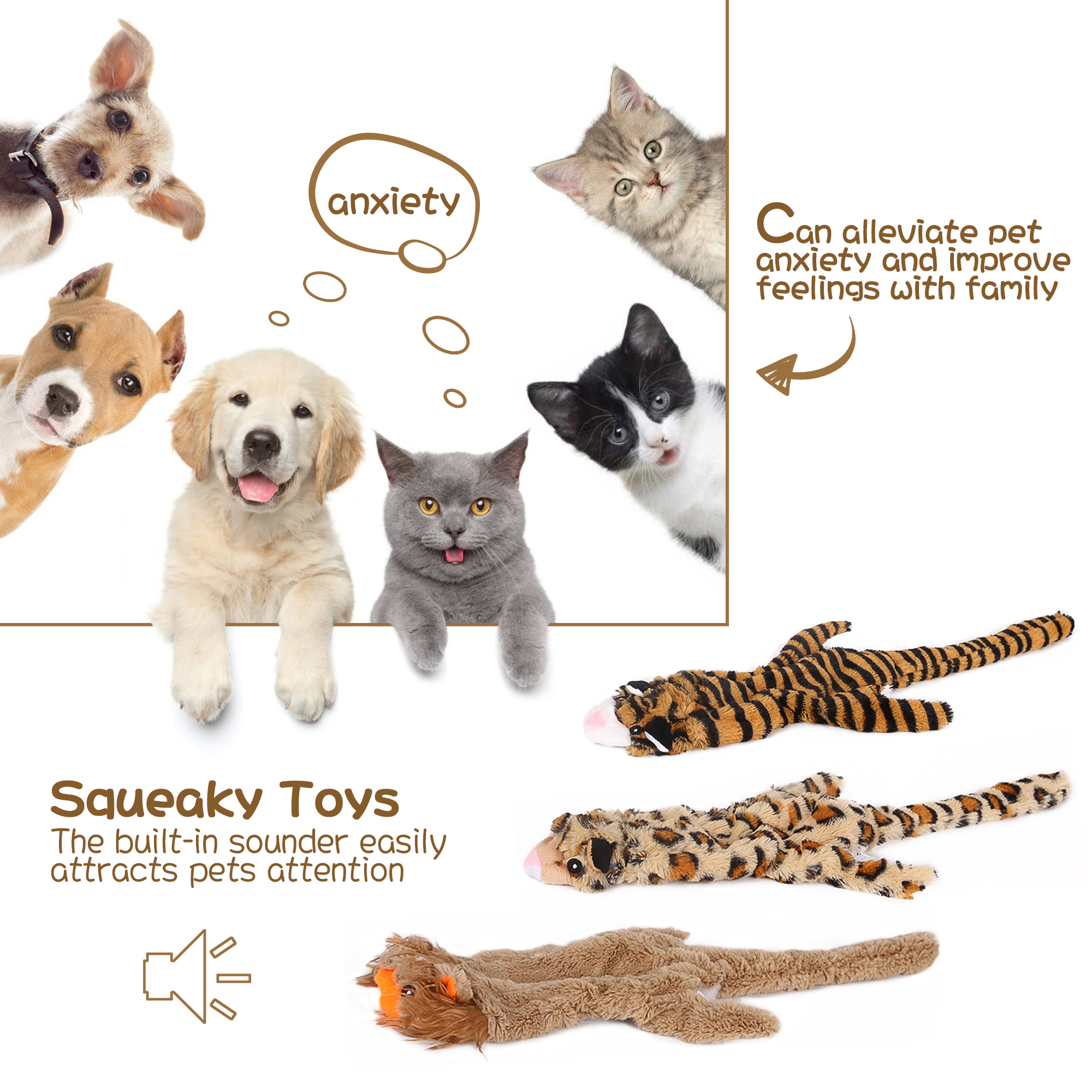 Squeaky Toys for Dogs, Value 3 Pack Set of Dog Chew Toy for Teething Chewing and Playtime, Durable Puppy Squeaky Dog Toys Stuffed Animal Plush Animal Dog Toy Set for Small Medium Large Dog Pets